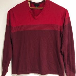 ALFANI Men's Red/ Maroon V Neck Sweaters